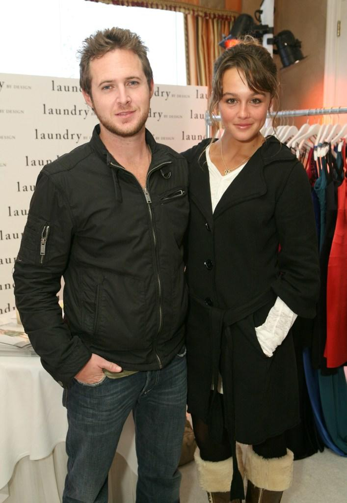 A.J. Buckley and Sharni Vinson at the Belvedere Luxury Lounge in honor of the 80th Academy Awards.