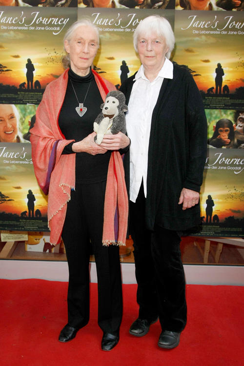 Jane Goodall and Judy Waters at the photocall of