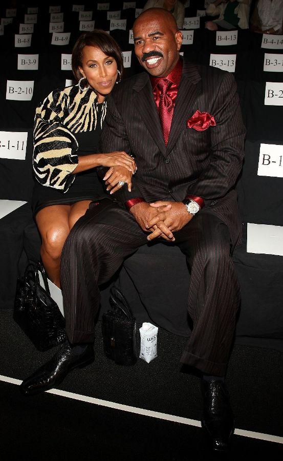 Marjorie Harvey and Steve Harvey at the Chado Ralph Rucci Spring 2010 Fashion Show.