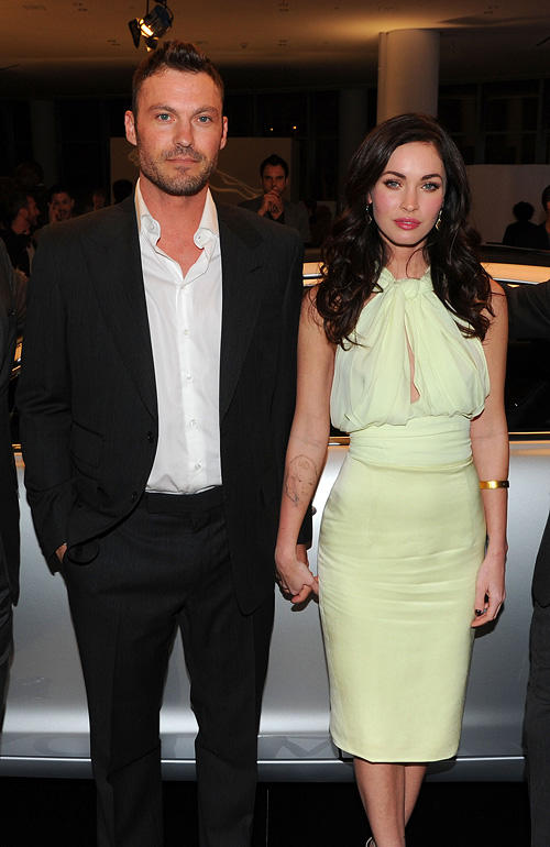Brian Austin Green and Megan Fox at the celebration of Jaguar Design and the 50th Anniversary of the Jaguar E-Type in New York.