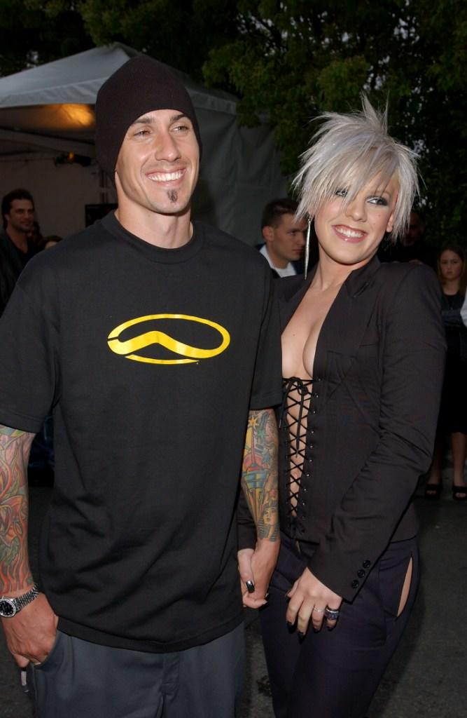 Carey Hart and his girl friend Pink at the MTVICON: Aerosmith.