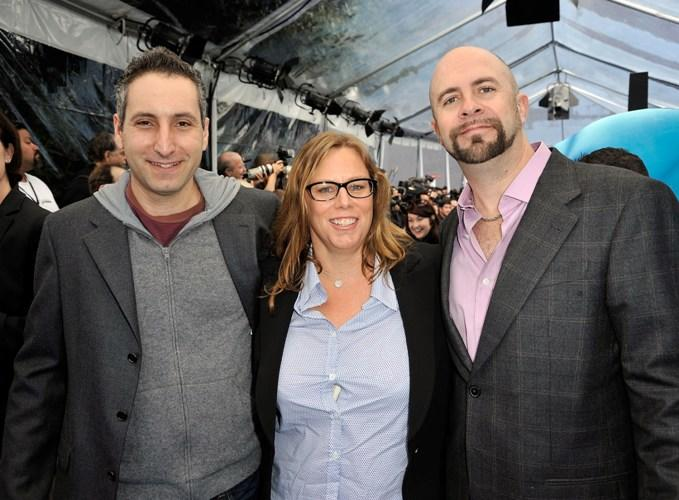 Director Rob Letterman, producer Lisa Stewart and Conrad Vernon at the premiere of