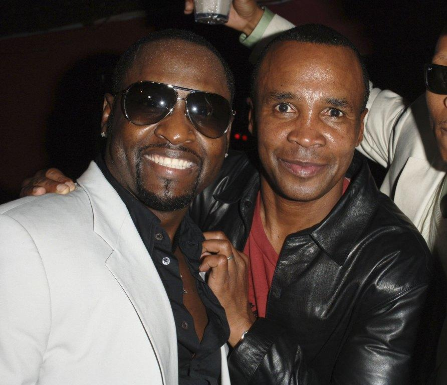 Johnny Gill and Sugar Ray Leonard at the Johnny Gill's 40th birthday celebration.