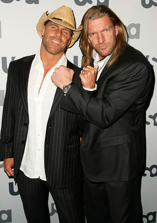 WWE wrestlers Shawn Michaels and Triple H at the 2008 USA Network Upfront in New York.