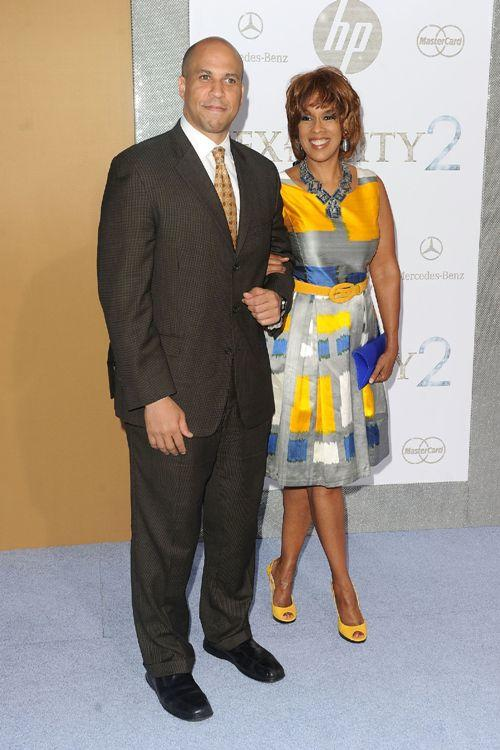 Cory Booker and Gayle King at the premiere of