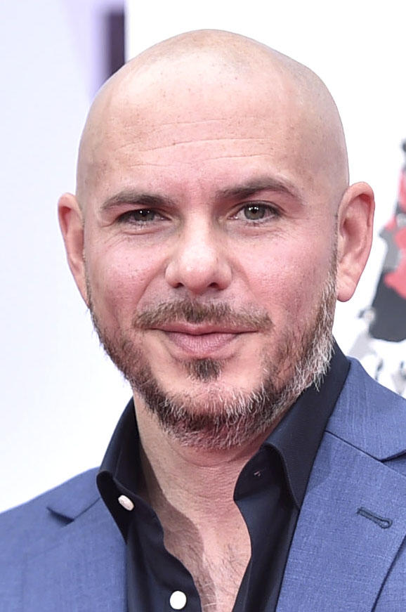 Pitbull at the Hand and Footprint ceremony honoring him in Hollywood.