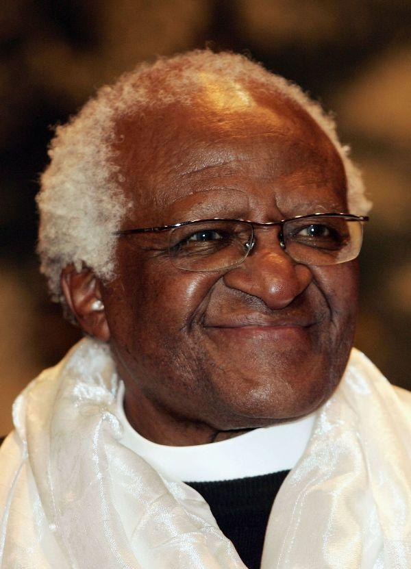 Desmond Tutu at the Concert Noble Building in Brussels, Belgium.
