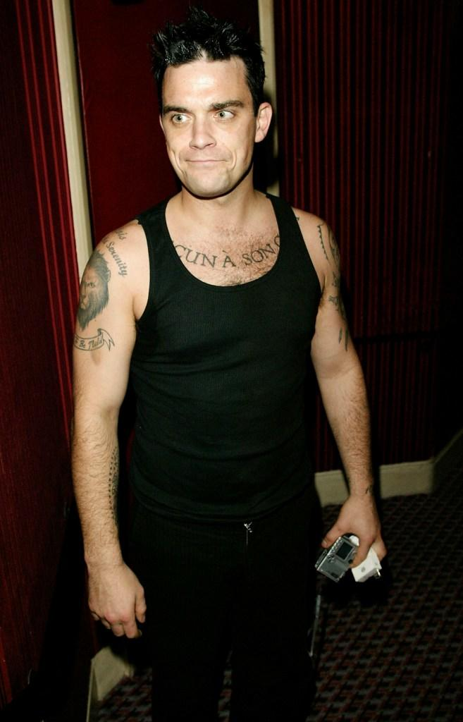 Robbie Williams at the party of the 30th Anniversary performance of