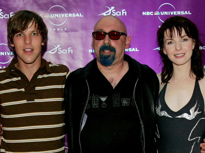 Chad Faust, Ira Steven Behr and Jacqueline McKenzie at the Sci-Fi Channel talent party at in California.