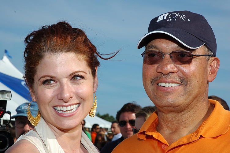 Debra Messing and Reggie Jackson at the opening day of the 2007 Mercedes-Benz Polo Challenge.