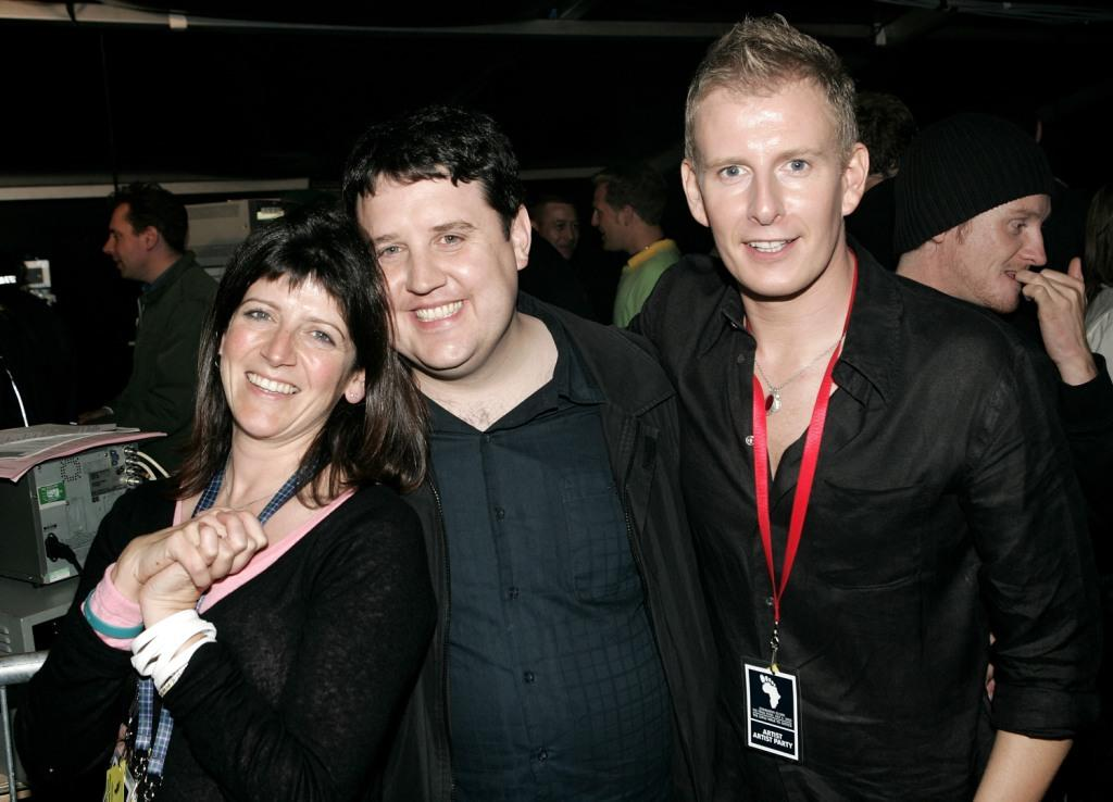 Emma Freud, Peter Kay and Patrick Kielty at the Live 8 Edinburgh concert.