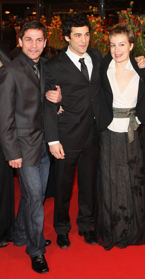 Zsolt Nagy, Nicolas Cazale and Anamaria Marinca at the premiere of