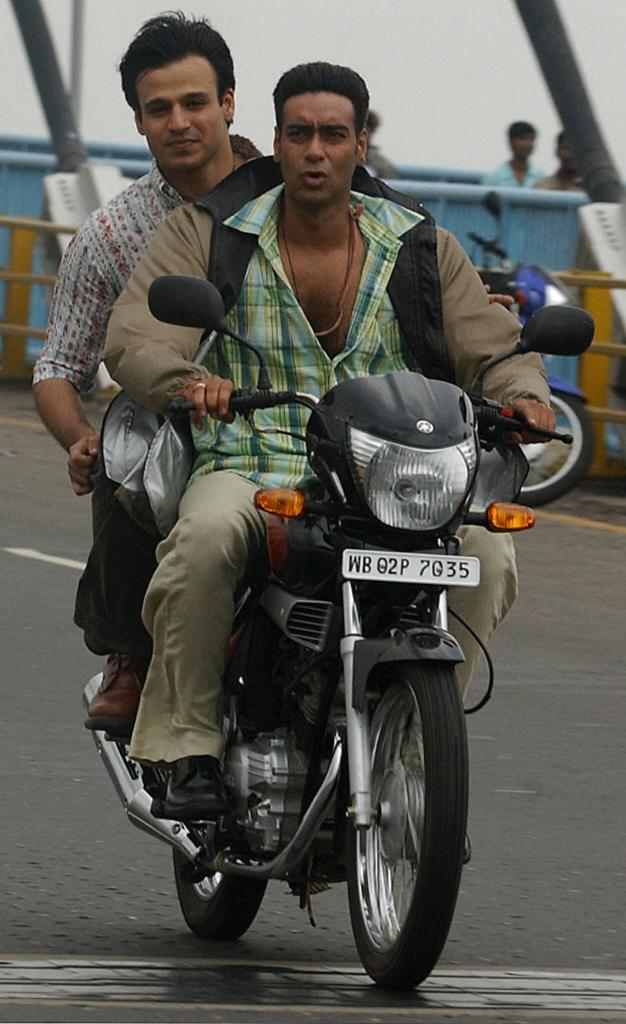 Vivek Oberoi and Ajay Devgan at the shooting of a movie in Calcutta.