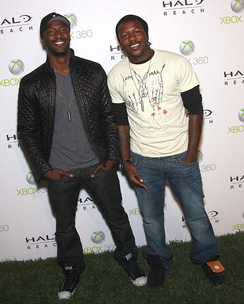 Aldis Hodge and Guest at the launch of XBox 360's