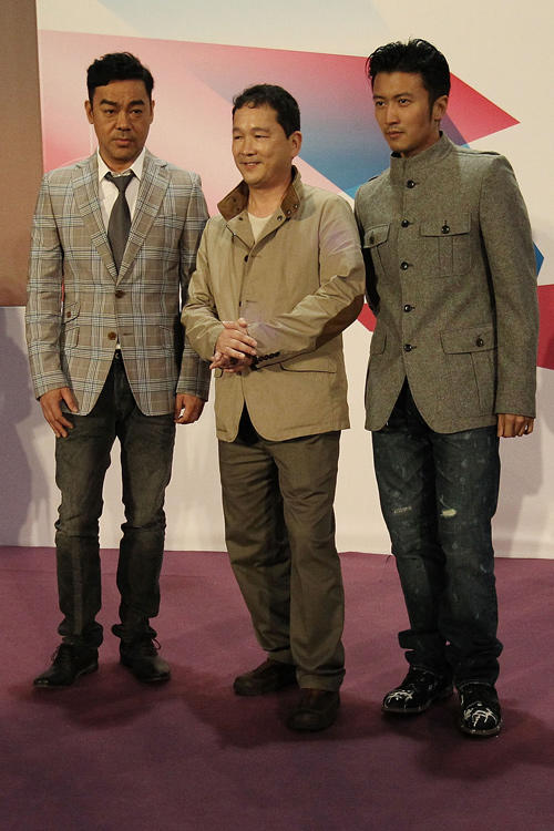 Sean Lau, Liu Kai-chi and Nicolas Tse at the press conference of