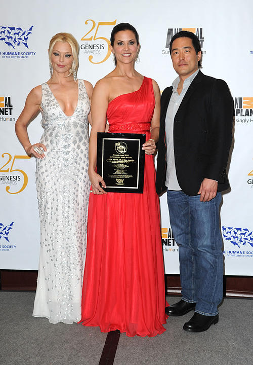 Charlotte Ross, Lu Parker and Tim Kang at the 25th Anniversary Genesis Awards in California.