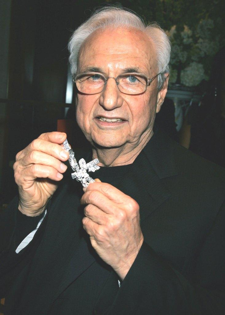 Frank Gehry at the launch of his premiere jewelry collection for Tiffany and Co.