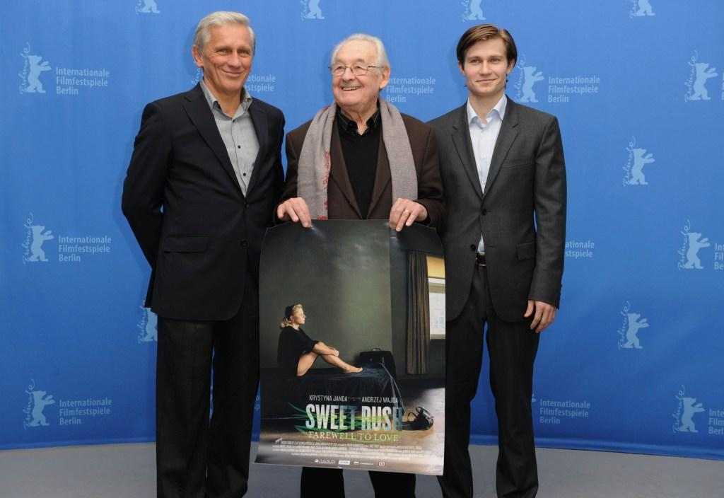 Jan Englert, Director Andrzej Wajda and Pawel Szajda at the photocall of