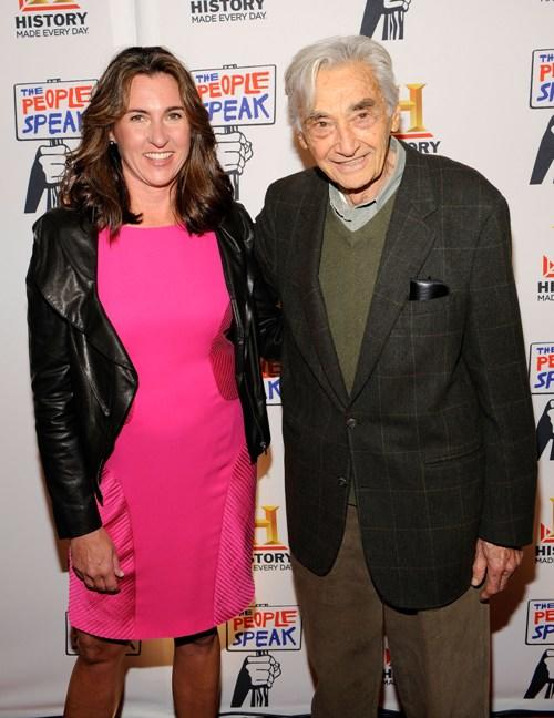 Nancy Dubuc and Howard Zinn at the premiere of