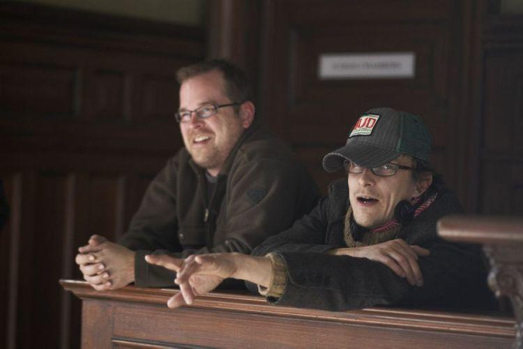 Director of Photography David Greene and director Peter Stebbings on the set of