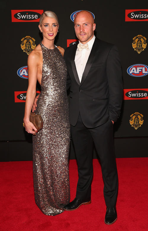 Jerri Jones and Nathan Jones at the 2013 Brownlow Medal.
