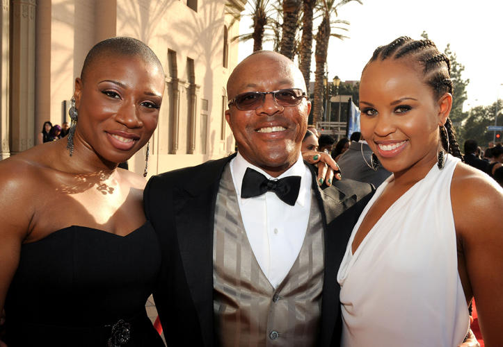 Aisha Hinds, director Kevin Rodney Sullivan and Kellee Stewart at the 42nd NAACP Image Awards in California.