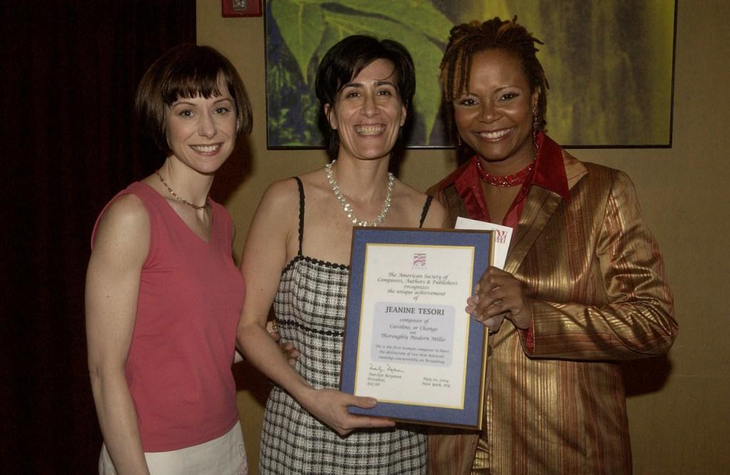 Susan Egan, Jeanine Tesori and Toyna Pinkins at the American Society of Composers, Authors and Publishers dinner celebration.