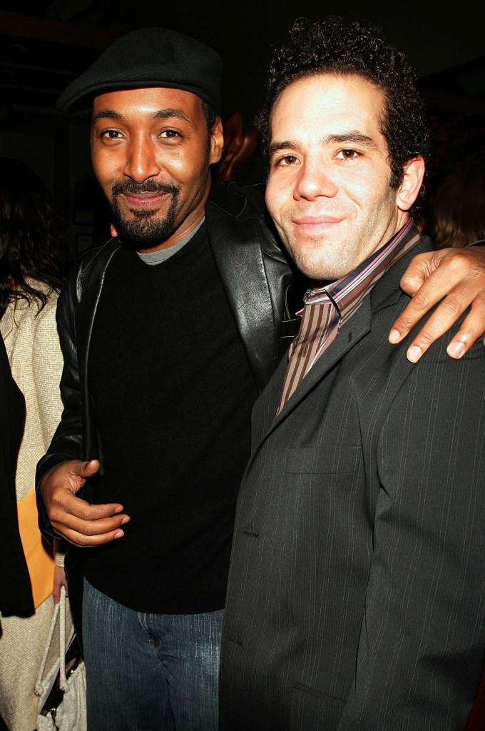 Jesse L. Martin and Aaron Lohr at the after-party of