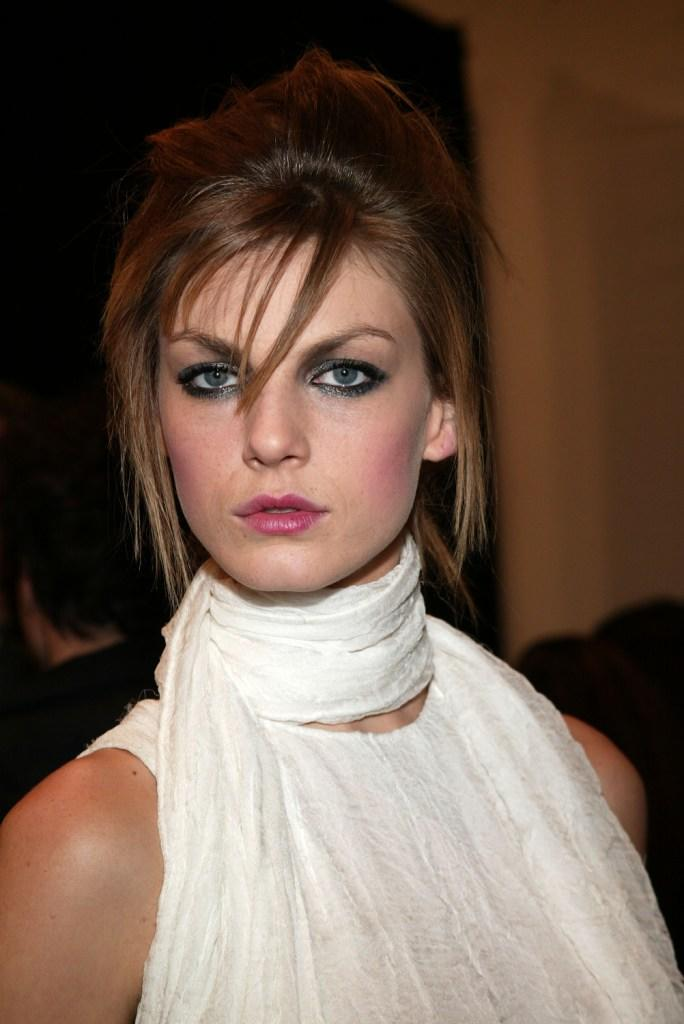 Angela Lindvall at the Zac Posen fashion show during the Olympus Fashion Week.
