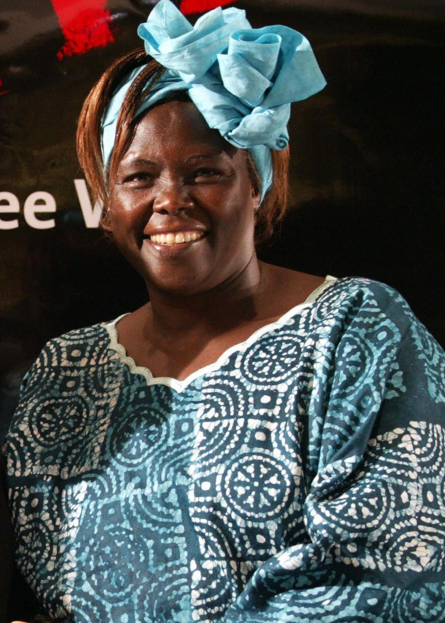 Wangari Maathai at the Mine-Free World summit.