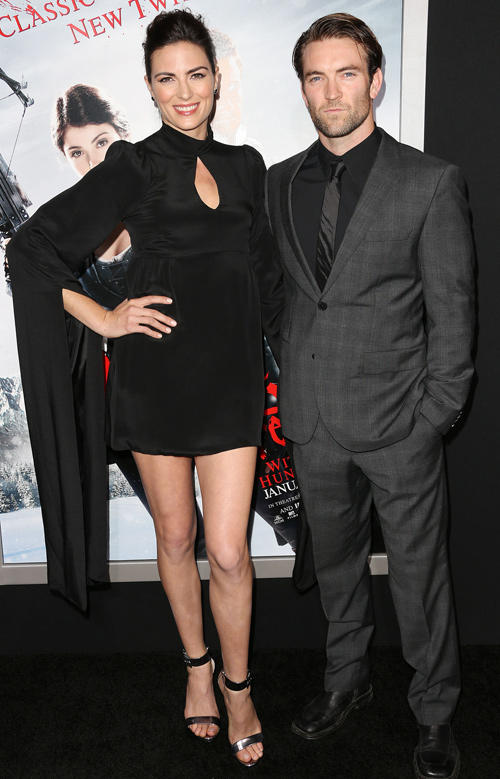 Monique Ganderton and Guest at the California premiere of