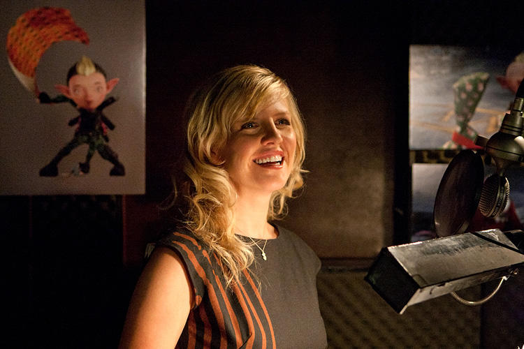 Ashley Jensen on the set of