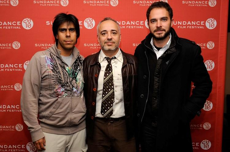 Producer Rodrigo Guerrero, writer/director Javier Fuentes-Leon and Manolo Cardona at the 2010 Sundance Film Festival.