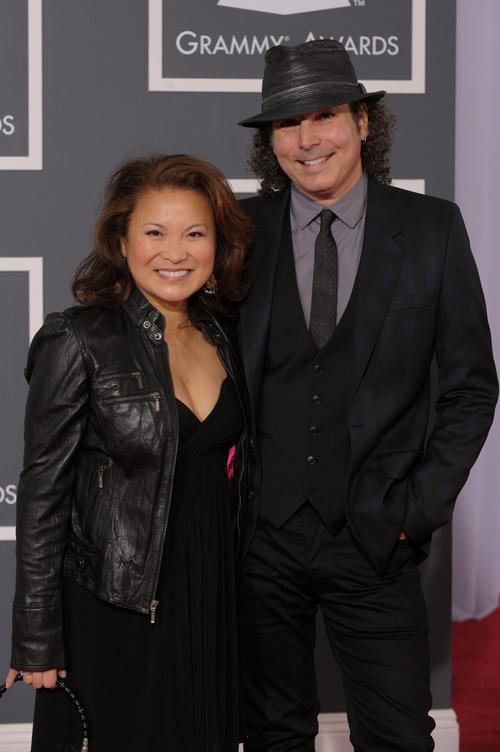 Lily Mariye and Musician Boney James at the 52nd Annual GRAMMY Awards in California.