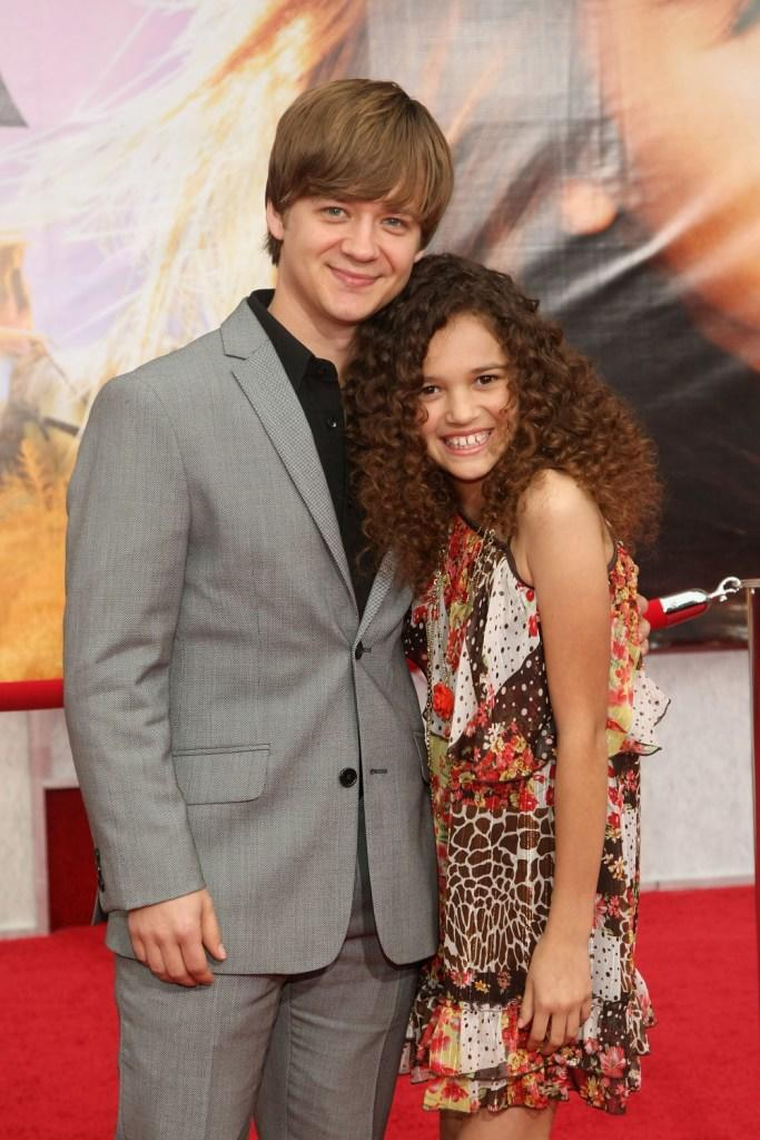 Jason Earles and Madison Pettis at the premiere of