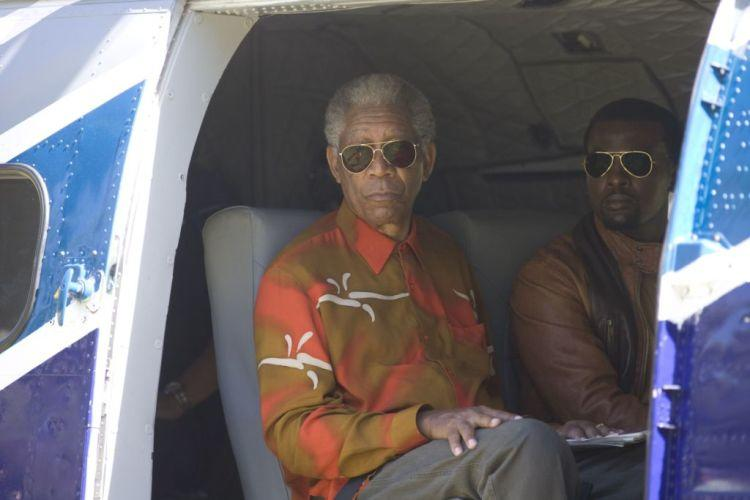 Morgan Freeman as Nelson Mandela and Tony Kgoroge as Jason Tshabalala in