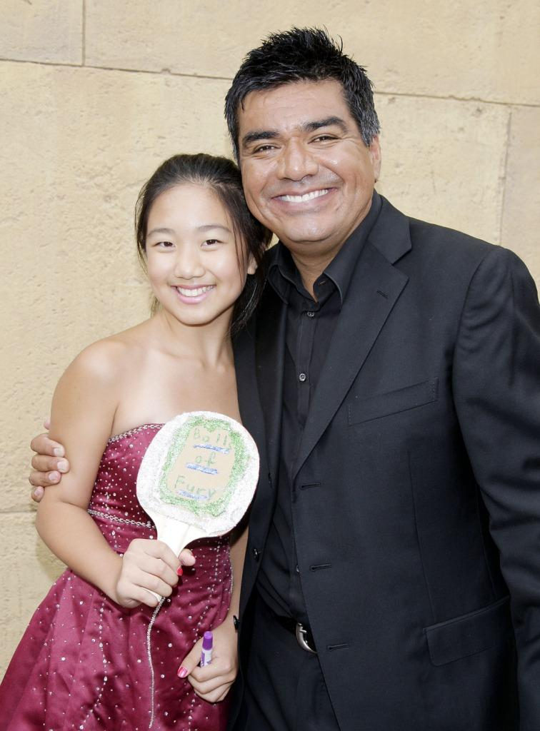 La Na Shi and George Lopez at the premiere of