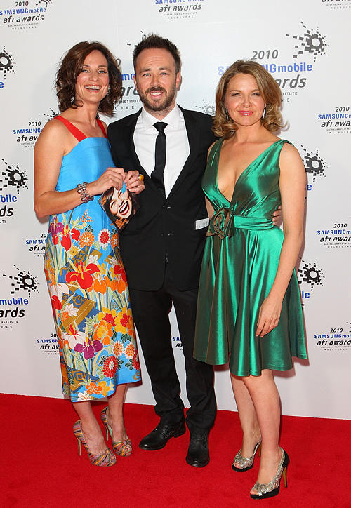 Catherine McClements, Kick Gurry and Justine Clark at the 2010 Samsung Mobile AFI Awards in Australia.