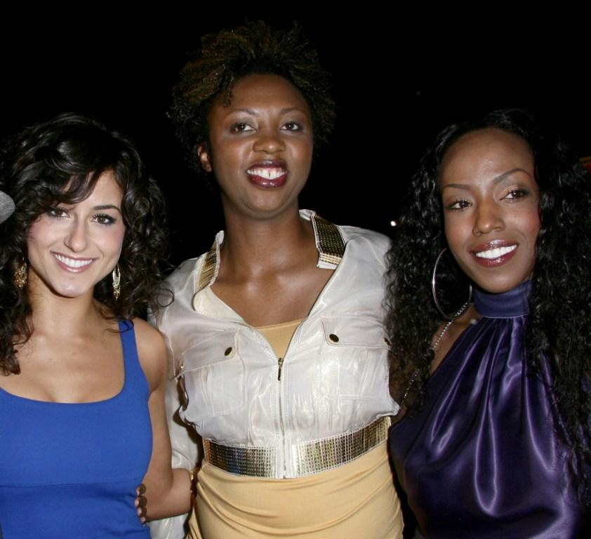 Romina D'Ugo, Annmarie Morais and Tre Armstrong at the premiere of