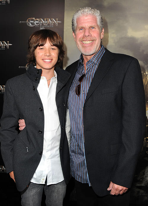 Leo Howard and Ron Perlman at the California premiere of