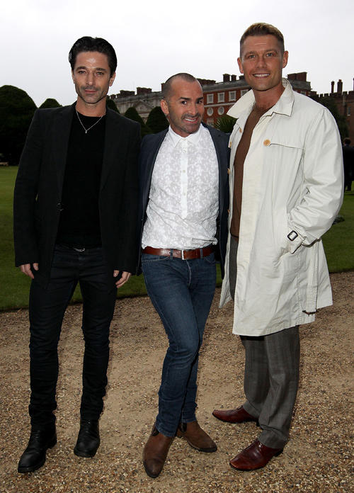 Jake Canuso, Louie Spence and John Partridge at the opening night of Hampton Court Palace Festival 2012.