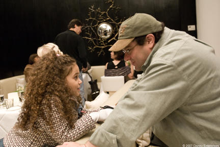 Madison Pettis and director Andy Fickman on the set of
