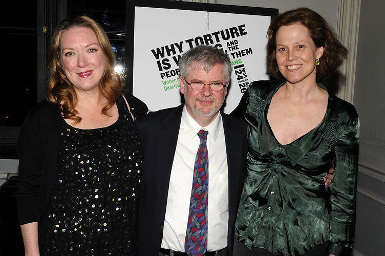 Kristine Nielsen, playwright Christopher Durang and Sigourney Weaver at the off-broadway opening night of