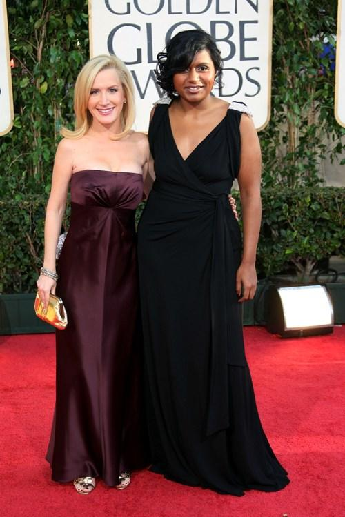Angela Kinsey and Mindy Kaling at the 66th Annual Golden Globe Awards.