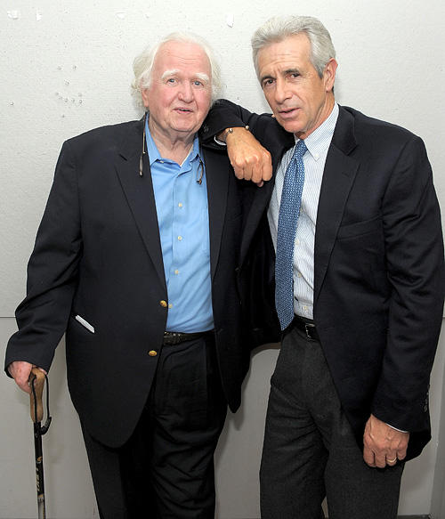 Malachy McCourt and James Naughton at the memorial service for Frank McCourt in New York.