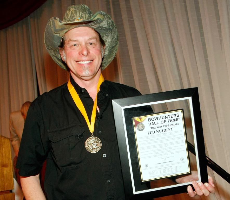Ted Nugent at the National Bowhunters Hall of Fame during the National Field Archery Association's World Archery Festival.