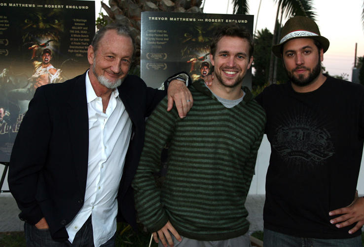 Robert Englund, Trevor Matthews and director Jon Knautz at the California premiere of