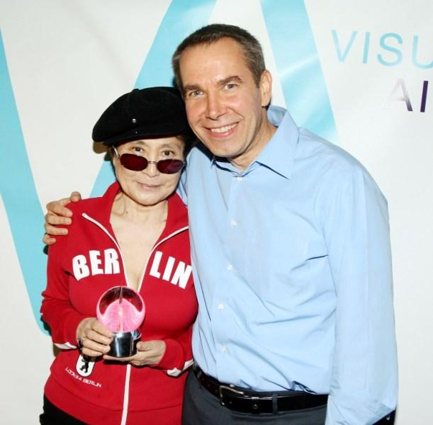 Yoko Ono and Jeff Koons at the Visual AIDS Strike II Benefit.