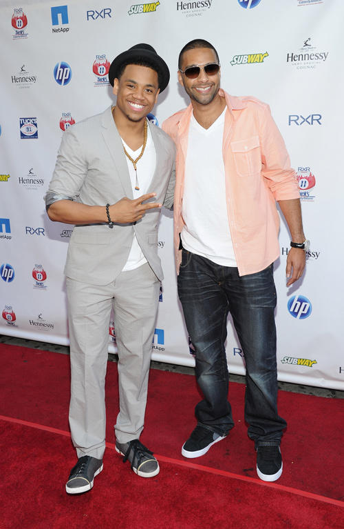 Tristan Wilds and DJ Mad Linx at the Giants Justin Tuck 3rd Annual