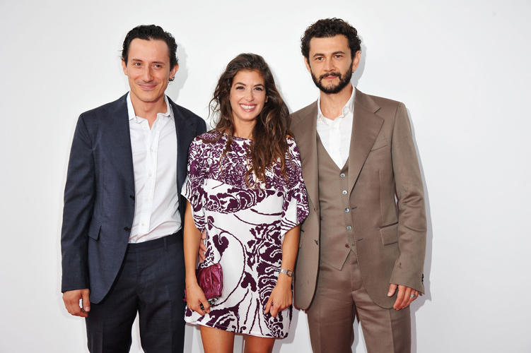 Michele Alhaique, Giulia Michelini and Vinicio Marchioni at the Italy premiere of